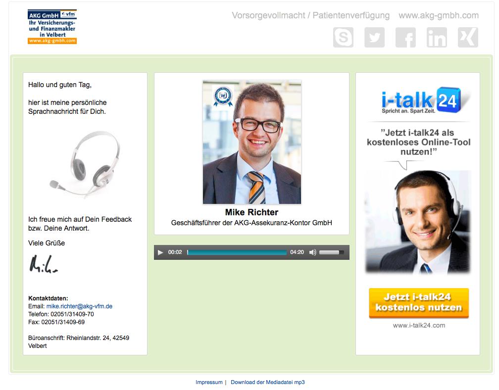 Effizientes Arbeiten - Screenshot italk24